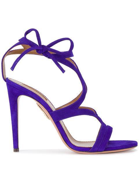 Aquazzura Violet Aurelie 110 Suede Sandals In Blue