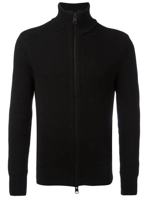 Ami Alexandre Mattiussi Fisherman Rib Zipped Cardigan In Black