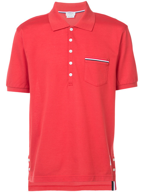 Thom Browne Heather Polo Shirt With Striped Pocket, Red