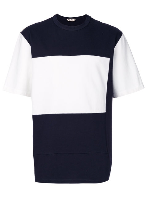 Marni Contrast Panel T-shirt In Blue Navy