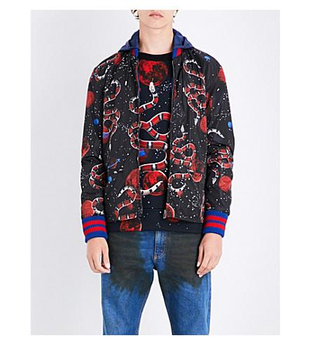 935a4bfe75b Gucci Space Snake-Print Detachable-Hood Jacket In Black