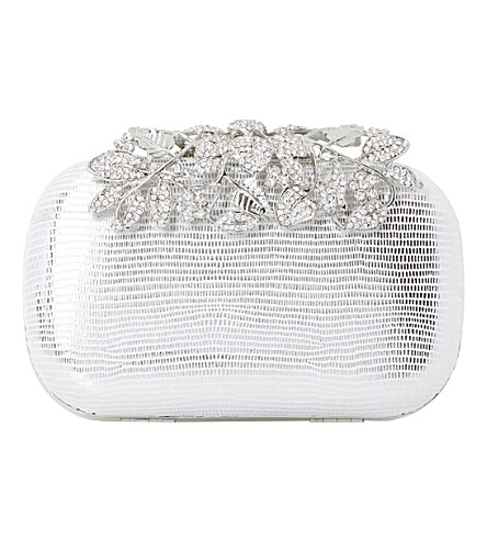 Dune Emberrs Embellished Clasp Clutch Bag In Silver-reptile