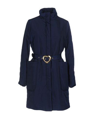Love Moschino Belted Coats In Dark Blue