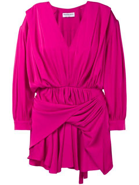Balenciaga Gathered Silk-blend Satin Mini Dress In Pink