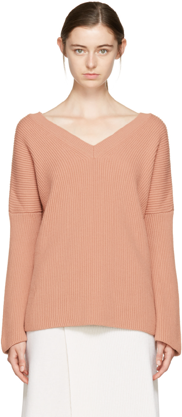 Stella Mccartney V-neck Ribbed-knit Wool Sweater In 6701 Blush