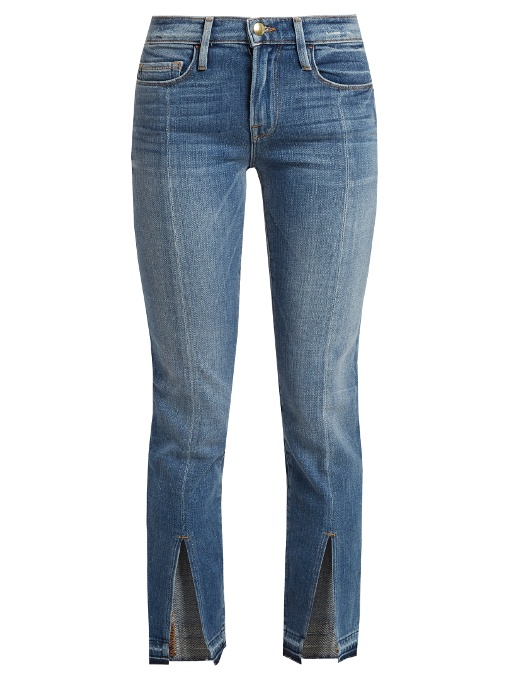 Frame Le Nouveau Straight-leg Cropped Jeans In Mid Blue