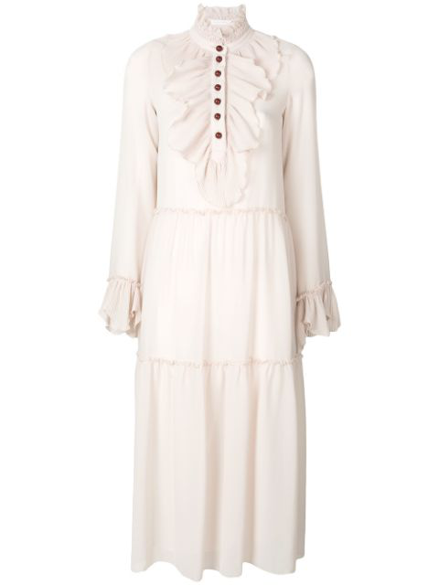 See By ChloÉ High Neck Pleated Ruffle Trim Midi Dress In Morgaeite Cream