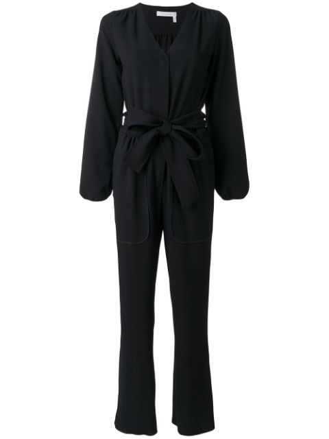 See By ChloÉ Long-sleeved Stretch-crepe Jumpsuit In Black