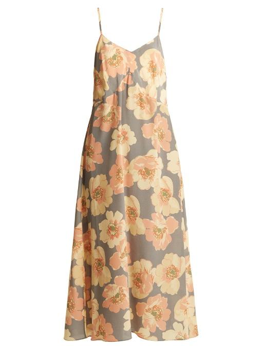 Raey Bust-cup Floral-print Silk Slip Dress In Blue Print