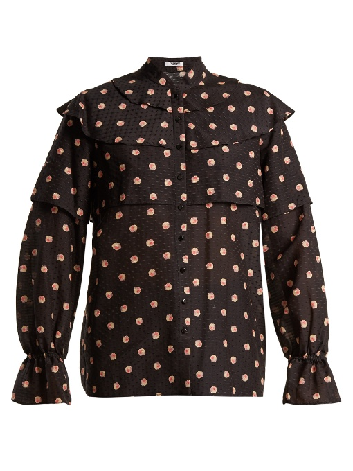 Vilshenko Orsha Peony-print Cotton And Silk-blend Blouse In Black Multi