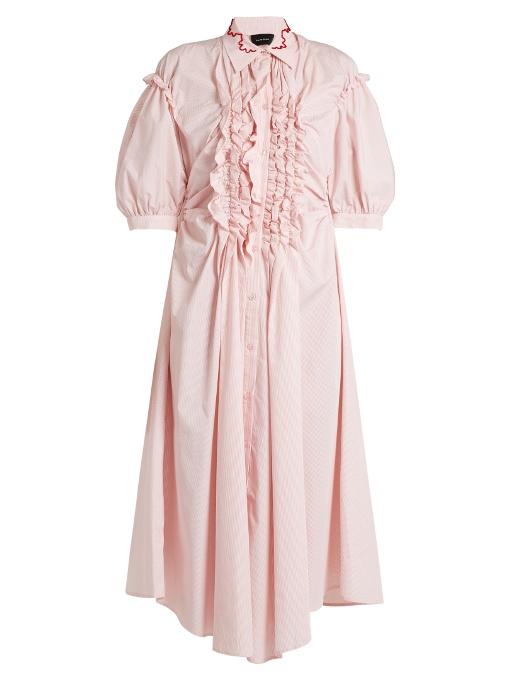 Simone Rocha Ruffle-trimmed Striped Cotton Midi Dress In Pink Stripe