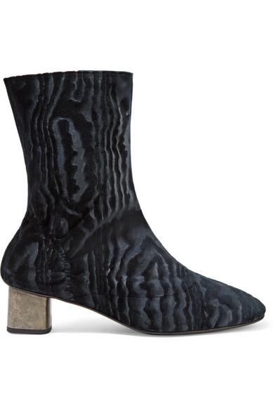 Robert Clergerie Women's Plopt Embossed Velvet Mid Heel Booties In Midnight Blue