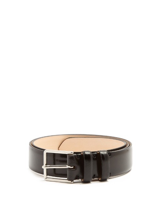 Paul Smith Slim Burnished-leather Belt In Black