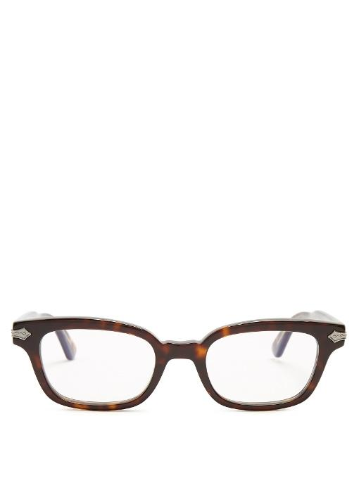 Gucci Rectangle-frame Acetate Glasses In Brown Multi