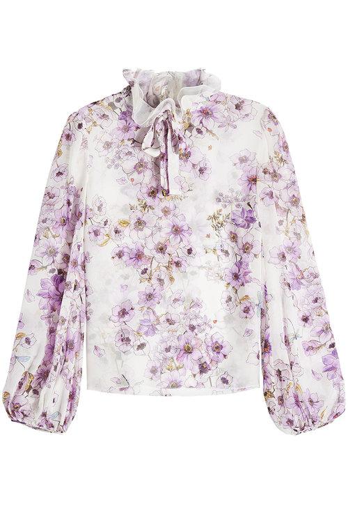 Giambattista Valli Printed Silk Blouse In Florals