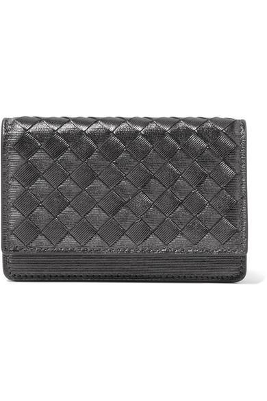 Bottega Veneta Metallic Intrecciato Leather Cardholder In Gunmetal