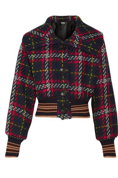 Miu Miu Cropped Tartan Wool-tweed Bomber Jacket In Blue