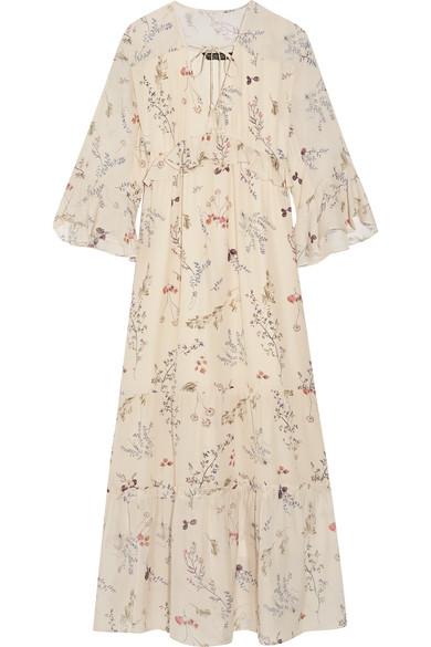 Rachel Zoe Belmont Ruffled Floral-print Silk-chiffon Maxi Dress In Cream