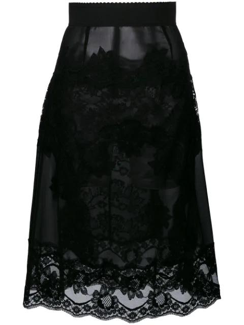 Dolce & Gabbana Lace-appliquÉ Georgette Skirt In Black