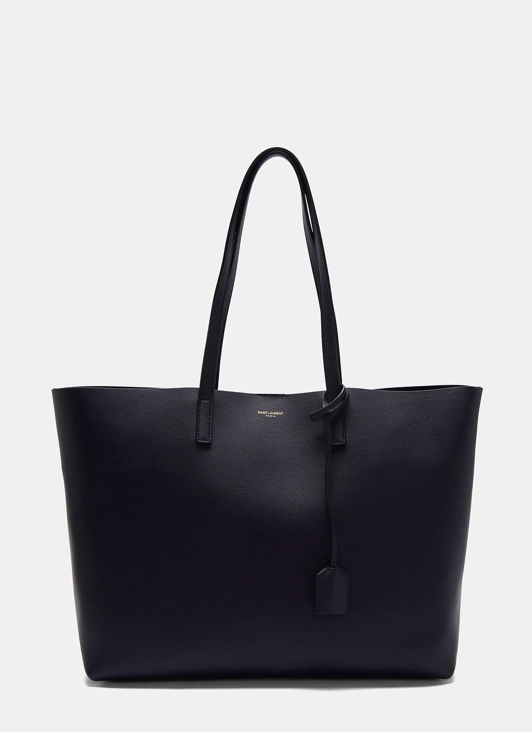 Saint Laurent Large Shopper Tote Bag In Black In Navy