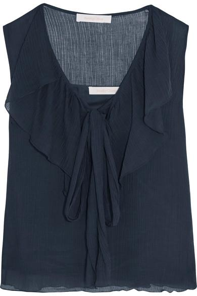 See By ChloÉ Ruffled Crinkled Cotton-gauze Top In Midnight Blue