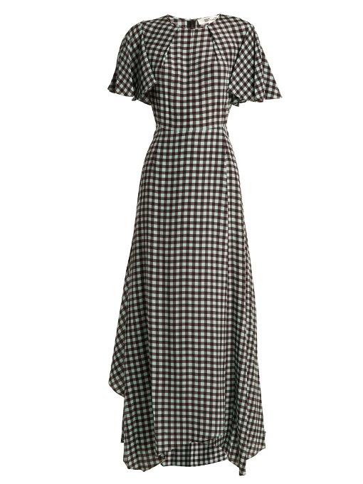 Diane Von Furstenberg Fluted-sleeve Cossier-print Silk Dress In Green Print