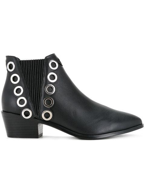 Senso Lexi Studded Leather Ankle Boots In Nero