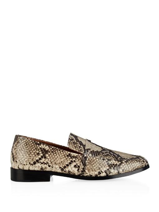 Newbark Melanie Snake-effect Leather Loafers In Tonal-grey And Black
