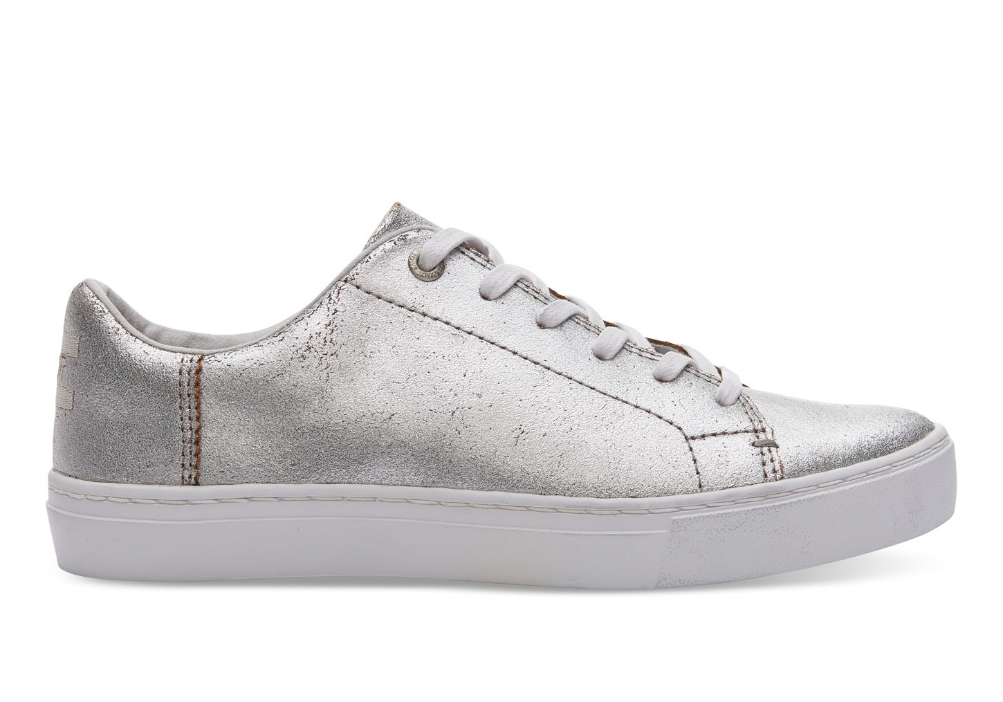 Toms Women's Lenox Metallic Lace Up Sneakers In Silver