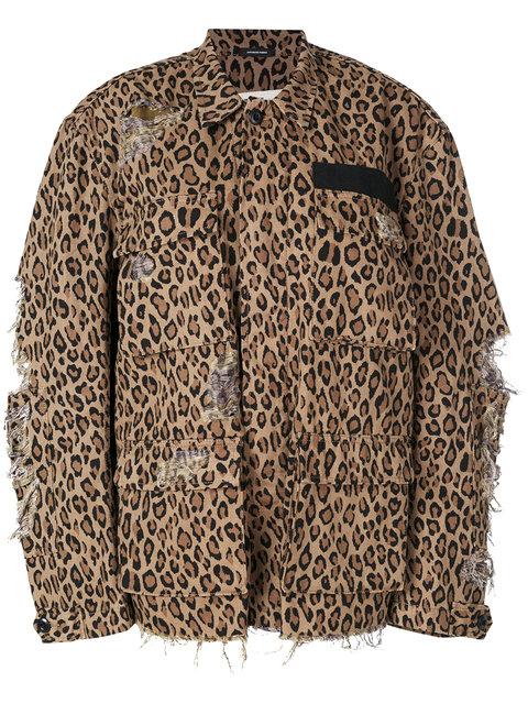 R13 Abu Shredded Leopard Print Cotton Jacket In Brown