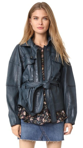 Marissa Webb Kayla Leather Anorak In Blue Sea