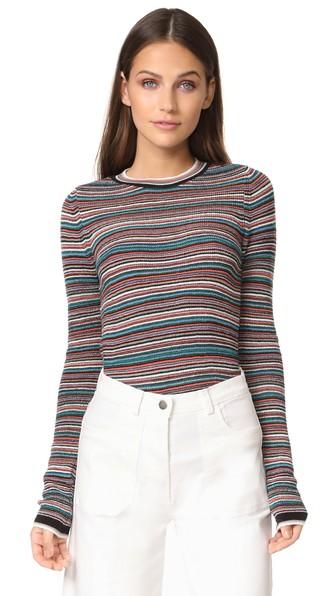 M.i.h Jeans Moonie Striped Merino Wool Sweater In Blue