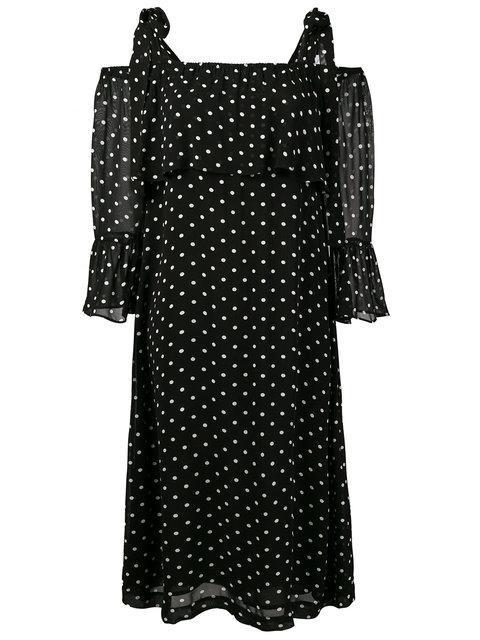 Ganni Monette Cold-shoulder Polka-dot Georgette Dress In Black