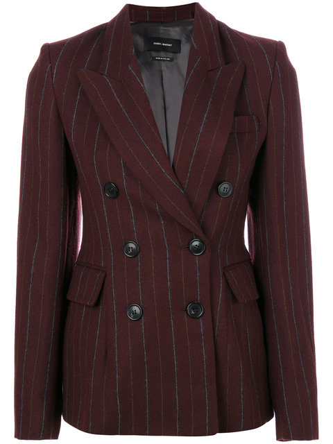 Isabel Marant Kelsey Double-breasted Striped Wool-blend Jacket In Burgundy