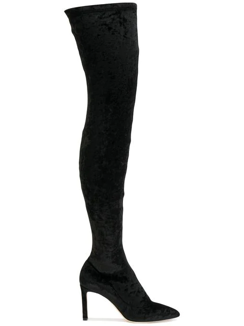Jimmy Choo Lorraine 85 Crushed Stretch-Velvet Over-The-Knee Boots In Black