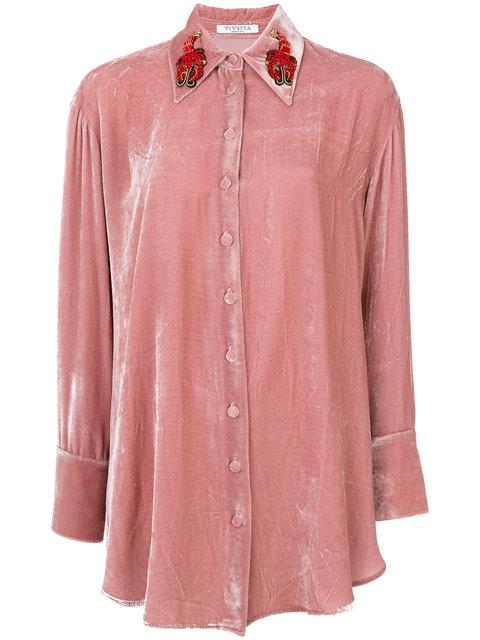Vivetta Beaded Collar Shirt In Rose