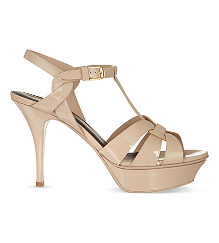 Dune Black Tribute 75 Patent-leather Heeled Sandals In Nude