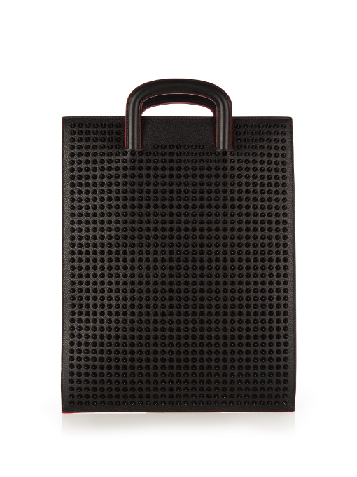 Christian Louboutin Trictrac Large Spike-embellished Leather Tote In Black