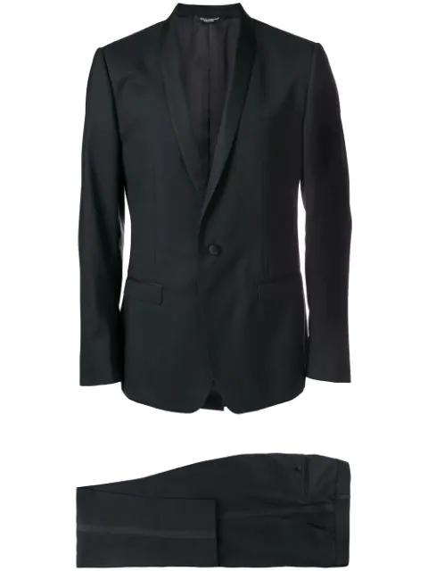 Dolce & Gabbana Single-Breasted Satin Peak-Lapel Wool-Blend Tuxedo In Black