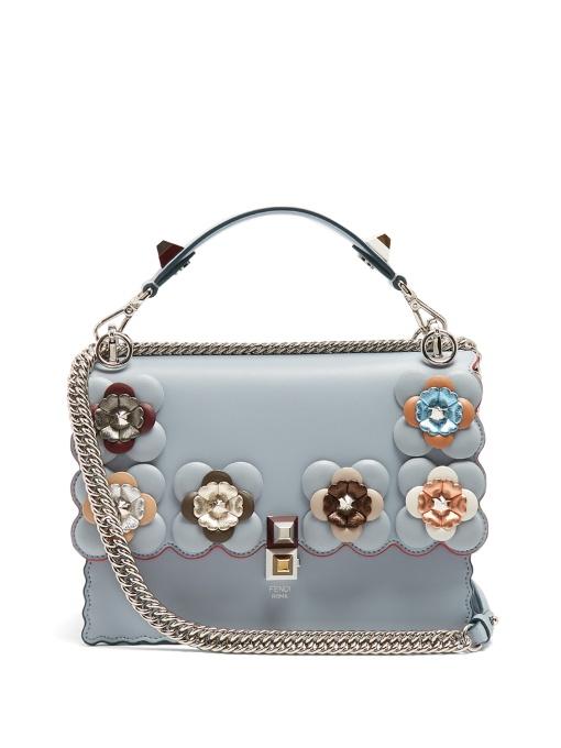 9da3fd7c5a Fendi Kan I Flower-Embellished Leather Shoulder Bag In Blue Multi ...