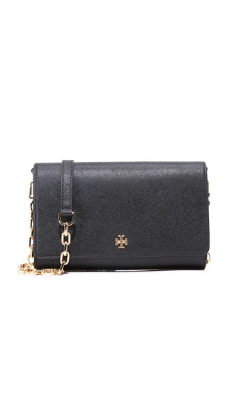 Tory Burch 'robinson' Saffiano Leather Chain Wallet In Black