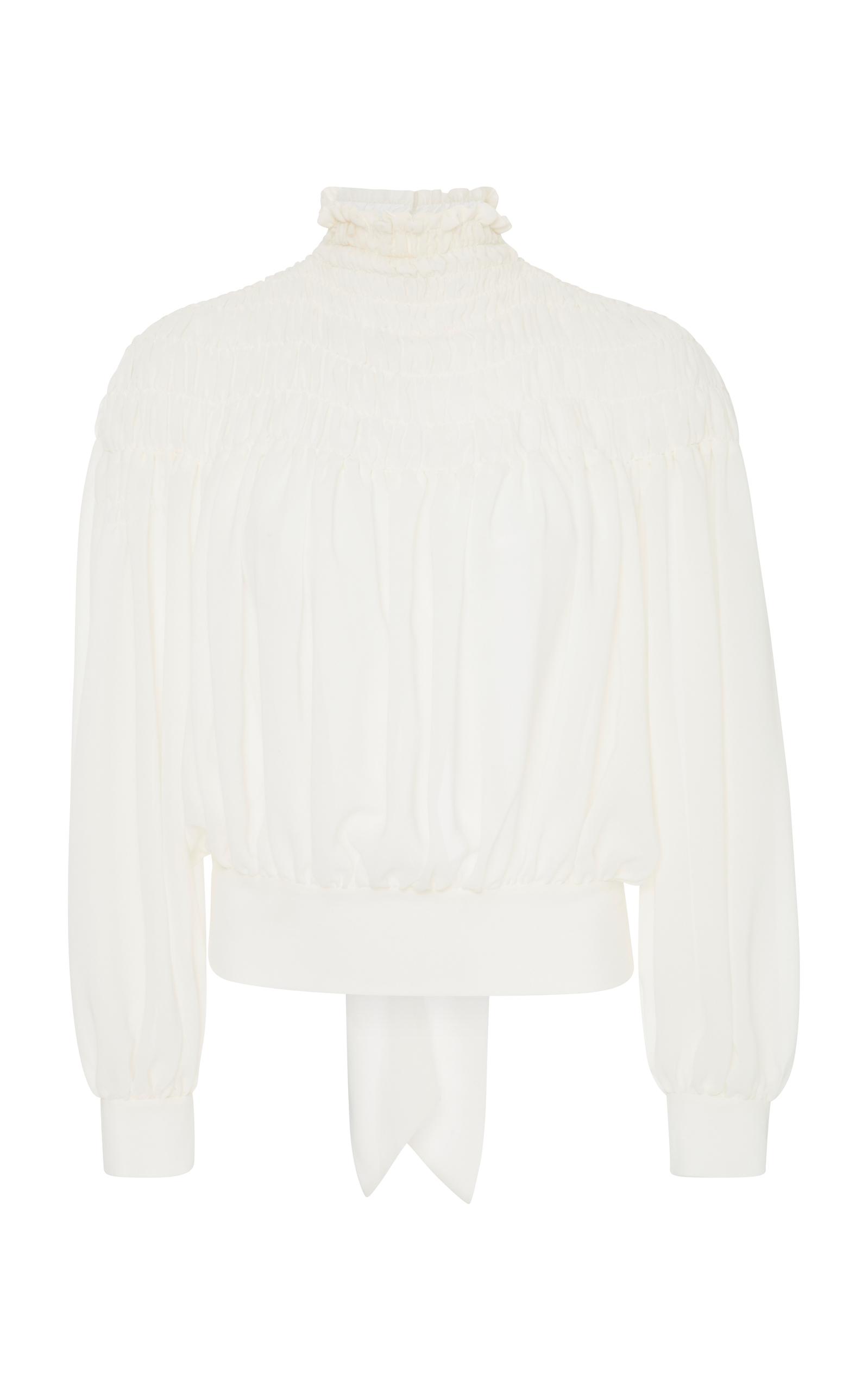 49743894b2b8e7 Frame Smocked Tieback Long-Sleeve Chiffon Blouse In White | ModeSens