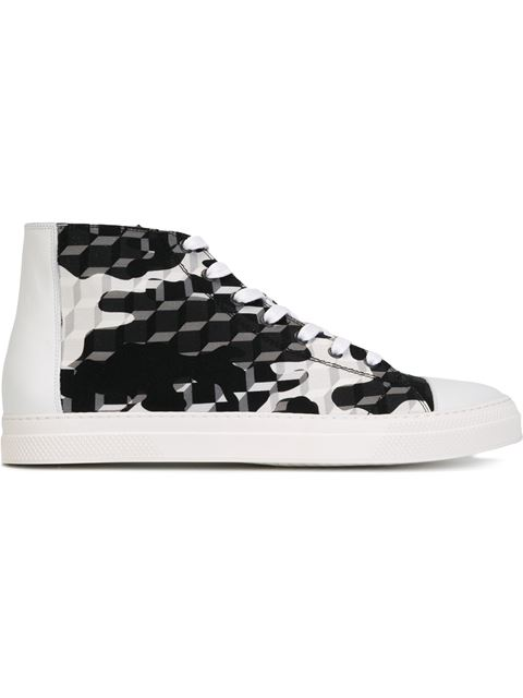 Pierre Hardy 'frisco' Camocube Print High Top Sneakers In Black