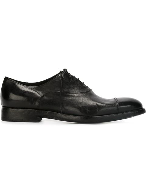 Alberto Fasciani Brushed Leather Oxford Lace-up Shoes In Black