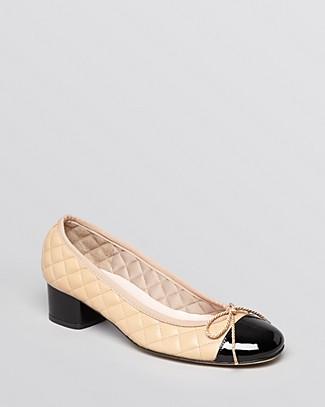 d5bf1d2edf3 Paul Mayer Women s Titou Quilted Leather Cap Toe Block Heel Pumps-Shoes