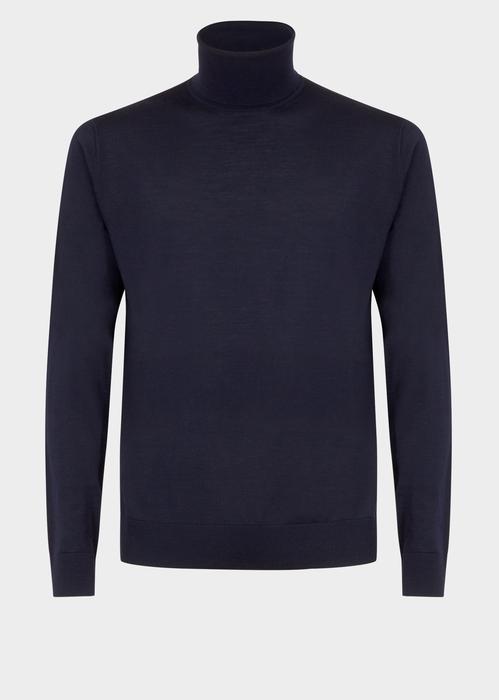 Versace Wool Turtleneck Knit In Blue