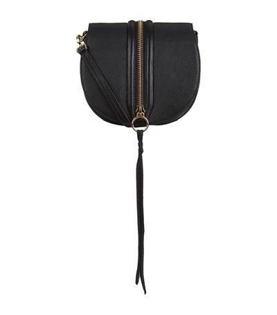 Rebecca Minkoff Medium Mara Zip Top Cross Body Bag In Black/ Light Gold Hrdwr