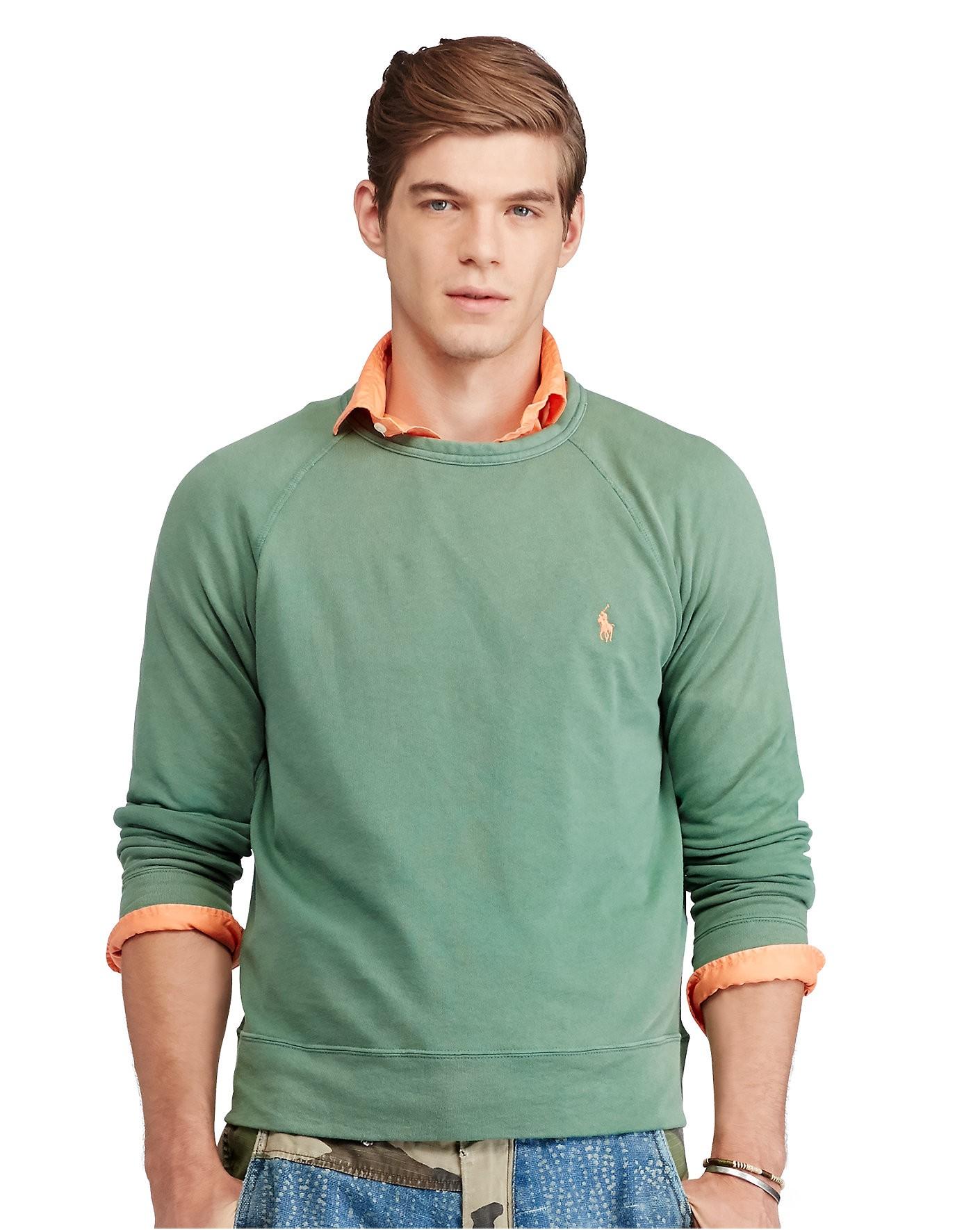 9823a9bac Polo Ralph Lauren Cotton Spa Terry Sweatshirt In Antique Green ...