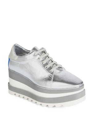 221679caa867 Stella Mccartney Sneak-Elyse Faux-Leather Platform Trainers In Metallic