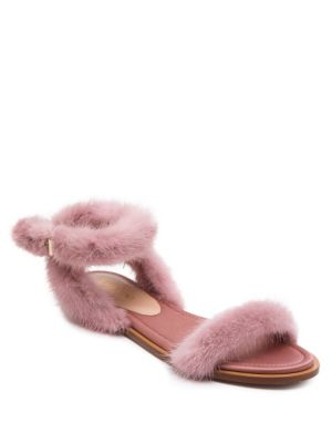1eaff86ff03b Valentino Mink Fur Ankle-Strap Sandals In Lipstick